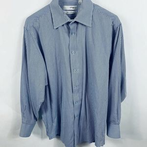 Ungaro Mens L/S Button Up Shirt Blue And White 16